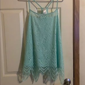 Baby Blue women's dressy, Lacey, tank top size xl